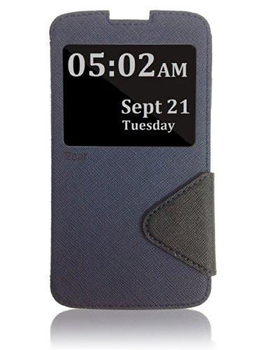 Roar- Super Slim PU Leather/ Diary Wallet View Case for LG G Pro Lite D686, Navy/Black