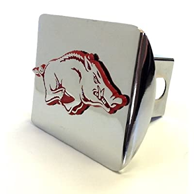 Elektroplate University of Arkansas Razorbacks Bright Polished Chrome with Red Running Hog Emblem Metal Trailer Hitch Cover Fits 2 Inch Auto Car Truck Receiver with NCAA College Sports Logo: Automotive