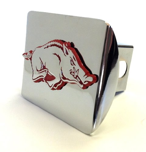 University of Arkansas Razorbacks Bright Polished Chrome with Red Running Hog Emblem Metal Trailer Hitch Cover Fits 2 Inch Auto Car Truck Receiver with NCAA College Sports Logo Elektroplate ARK-RED-CHR-HRC