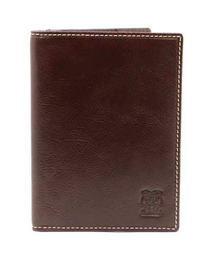 CAPPIANO Genuine Leather US Passport Holder Cover ID Card Wallet Travel Case - Cognac