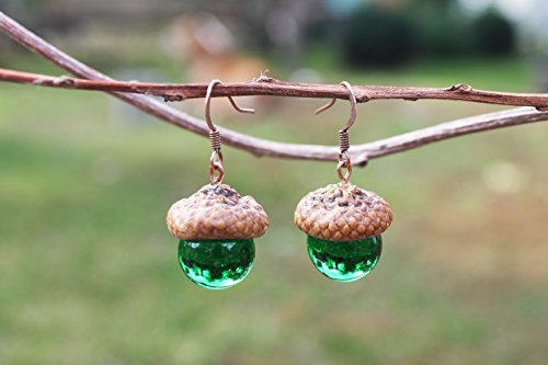 Аcorn earrings, Glass Acorn Lampwork,acorn ornament, made from flamework glass and an acorn cap peter pan necklace