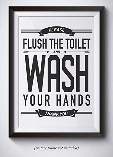 Please Wash Your Hands Bathroom Sign - 11x14 Unframed Wall Art - Bathroom Decor Housewarming Gift - Great Gift For Moms and Mothers