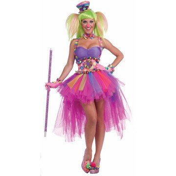 Forum Novelties Inc Women's Tutu Lulu Clown Costume Multicoloured One (Lulu The Clown)