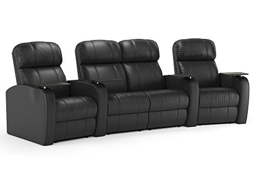 Diesel XS950 Theater Seating Recliners - Octane - Black Top-Grain Leather - Manual Recline - Curved Row of 4 Chairs with Loveseat -  Octane Seating, DIESEL-R4CLM-LM-BL