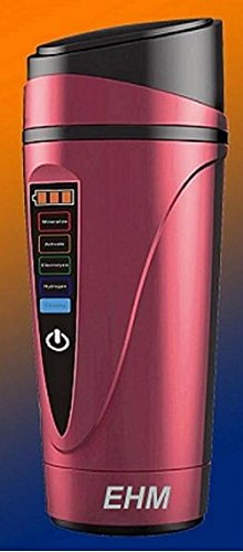 """EHM Electronic """"H-Pitcher"""" Hydrogen Alkaline Water Ionizer Generator Flask. EHM Makes leading-tasting Hydrogen Alkaline Ionized Water (Red)"""
