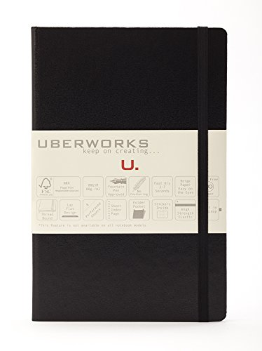 2nd Edition UBERWORKS TEHNIK Classic Deep Black Hardcover Dotted/Dot Grid Elastic Closure Notebook/Bullet Journal A5 Medium 5.6x8.4in 192 Pages 80gr. Smooth Ivory Paper, Index, Back Folder & Labels (Edition Journal)