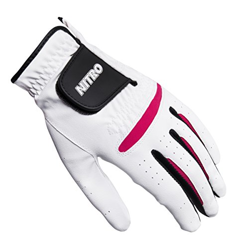Pink Left Handed Golf Glove (Nitro Crossfire Golf Glove Ladies, Left Handed, White/Pink, White, Medium)