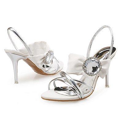 LvYuan Mujer-Tacón Stiletto-Zapatos del club-Sandalias-Boda Vestido Fiesta y Noche-Cuero Seda Purpurina-Azul Blanco White