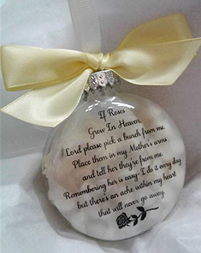 Mother Memorial Christmas Ornament Sympathy Gift filled w/Yellow Roses