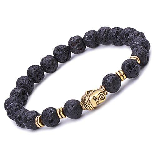 [Infinite U Women's Men's Buddha Bracelet 9mm Beads Wrist Mala Alloy Lava Stone Stretch Bracelet, Therapy Yoga Meditation,] (Cheap Disciple Costumes)
