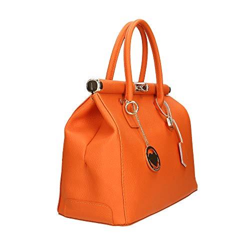 Borsa 35x28x16 Chicca Arancione Made Mano Borse Bag Cm Pelle Italy In A annUqx7z