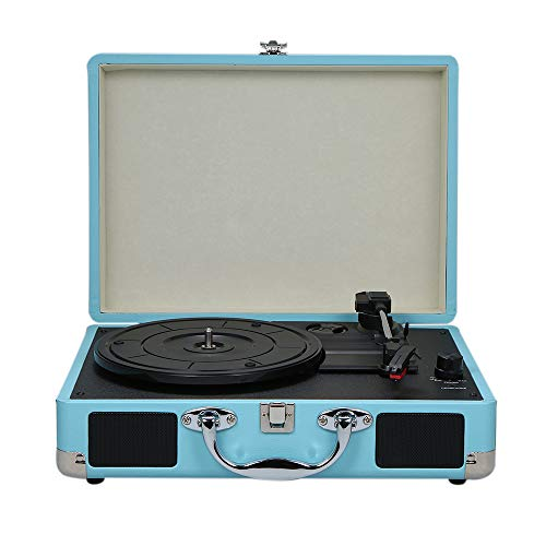 Turntable With Speakers Vintage Phonograph Record Player Stereo Sound Blue EU-type