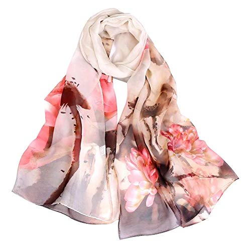 Women's Polyester Chiffon Scarf Neck Fashionable Printing Floral Country Style Lightweight scarves for Ladies and - Silk Scarf Floral Long