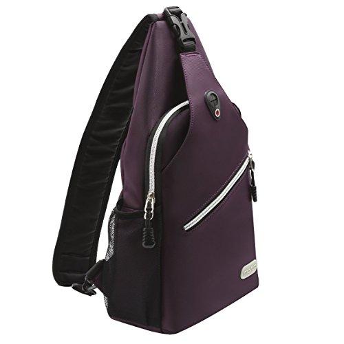 (MOSISO Sling Backpack, Multipurpose Crossbody Shoulder Bag Travel Hiking Daypack, Purple)
