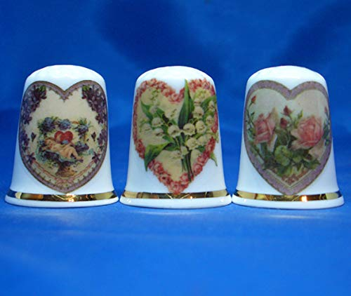 Birchcroft Porcelain China Collectable - Set of Three Thimbles - Victorian Hearts