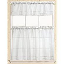 RT Designers Collection Evie Macrame Kitchen Curtain, 1 Straight Valance & 2 Tiers, White