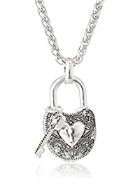"""Fancy Lock and Key Necklace with Heart Accents Pendant Necklace, 18"""""""
