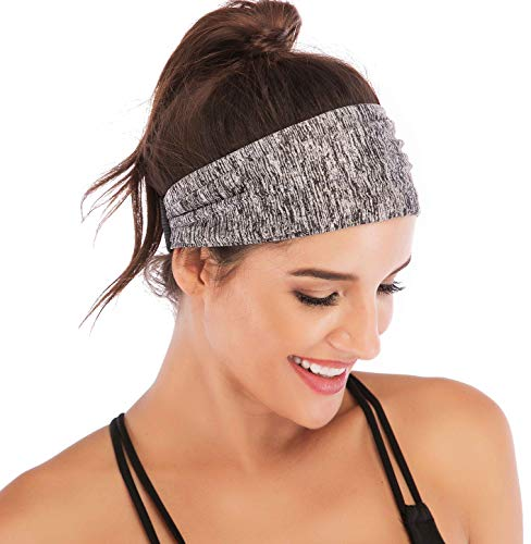 Heathyoga Non-Slip Headband for Women -Silicone Grippy Sweatband & Sports Headband for Workout, Running, Crossfit, Yoga Bike Helmet Friendly, Performance Stretch & Moisture Wicking (Space Dye Gray)