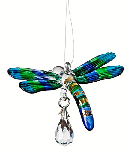 Woodstock Chimes Rainbow Maker - Fantasy Glass Dragonfly, Peacock