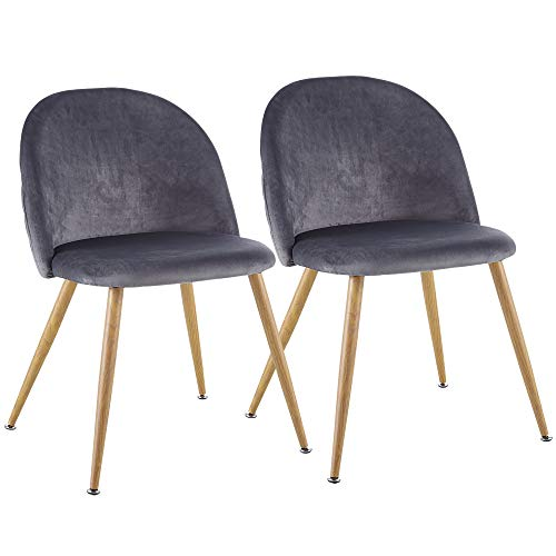 EiioX Modern Velvet Upholstered Metal Legs, Cute Desk Chair for Living Dining Room Bedroom Makeup Dresser, Set of 2, Gray