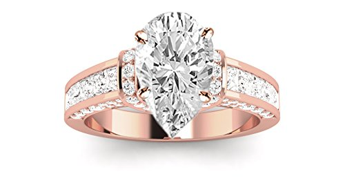1.64 Ct Pear Diamond (1.64 Carat 14K Rose Gold Contemporary Channel Set Princess And Pave Round Cut Pear Shape Diamond Engagement Ring (H Color SI2 Clarity Center Stones))