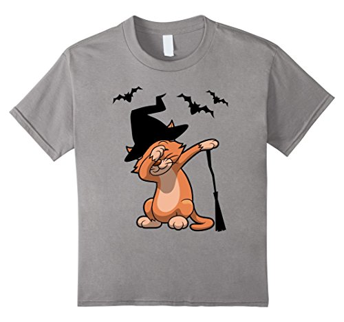 Teenage Girl Cat Halloween Costumes (Kids adorable dabbing Halloween Cat with witch hat Tshirt 6 Slate)