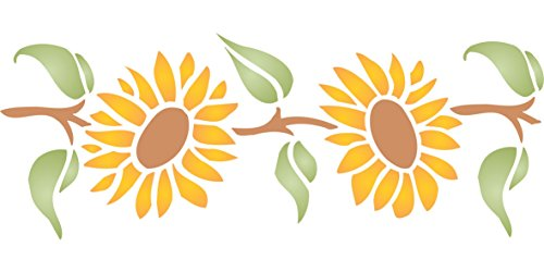 "Sunflower Wallpaper Cut Outs - Sunflower Stencil - (size 9.5""w x 4.5""h) Reusable Wall Stencils for Painting - Best Quality Wall Border Flower Stencil Ideas - Use on Walls, Floors, Fabrics, Glass, Wood, Terracotta, and More…"