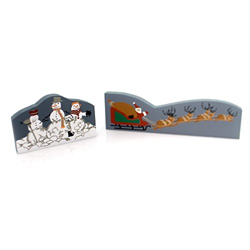 Cats Meow Village SET/2 SNOWMEN SANTA REINDEER Accessory Christmas Cm Xmas 1