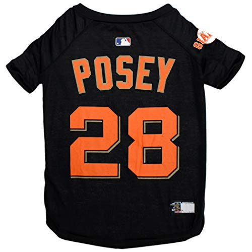 MLBPA Buster Posey #28 TEE Shirt for Dogs & Cats. MLB San Francisco Giants Dog T-Shirt, X-Small | Sports Dress for Pets | Licensed Sporty Dog -