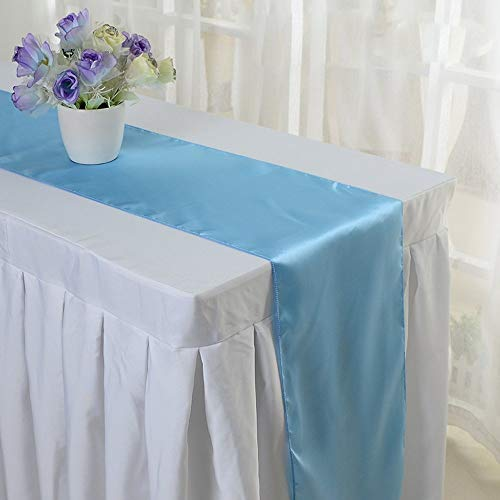 10PCS 12 x 108 Inch Satin Table Runner Wedding Banquet Decoration (#08 Light Blue)