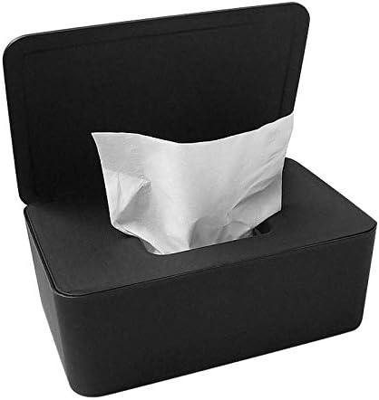 Office Dorm Countertops Desk Dustproof Tissue Storage Box Case Wet Wipes Dispenser Holder with Lid for Vanity
