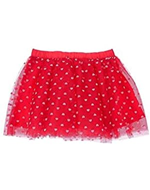 Baby Girl's Red Heart Print Tutu