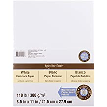 "Recollections White Heavyweight Cardstock Paper, 8.5"" X 11"" - 100 Sheets"