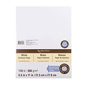 """Recollections White Heavyweight Cardstock Paper, 8.5"""" X 11"""" - 100 Sheets"""