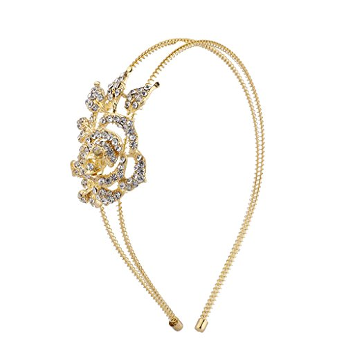 Lux Accessories Gold Tone Crystal Rhinestone Flower Rose 2 Row Coil Headband (2 Gold Rose Row)