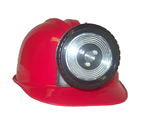 [Childrens Construction Lighted Miner Hard Hat Bright RED] (Coal Miner Costume)