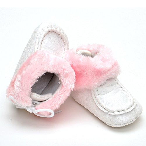 Bebé cálido botas de cordones rosa rosa Talla:0-6 meses blanco