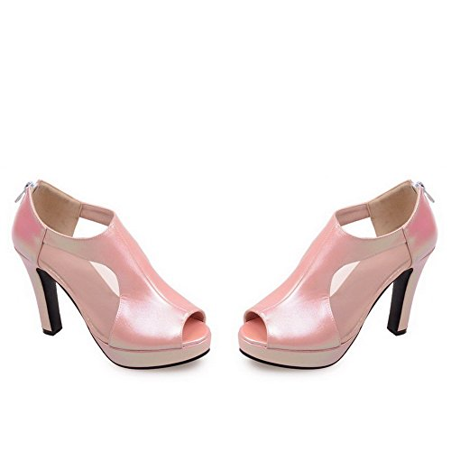 Amoonyfashion Womens Zip Peep Toe Tacchi Alti Materiali In Miscela Sandali Solidi Rosa