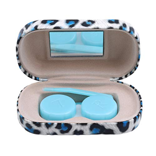 Iumer Cute Leopard Contact Lens Case Outdoor Traveling PU Container PU Leather Box,White Leopard -