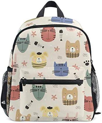 動物の犬パグ猫の顔幼児就学前のバックパック本袋ミニショルダーバッグリュックサック通学用1-6年旅行男の子女の子
