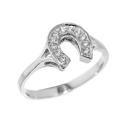- Dainty 925 Sterling Silver CZ-Studded Ladies Horseshoe Ring (Size 5.5)