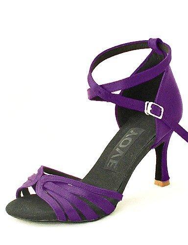 Satinato Donna Personalizzabili Personalizzato Tacco Scarpe Bronzo Blu Da Rosso Salsa Ballo Nero Per Viola Latino Shangyi Giallo 4wzXqII