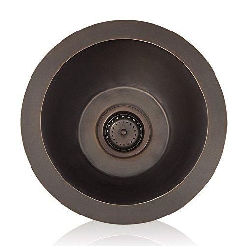 (Lenova CK-201 Copper Prep Round Top-Mount/Under-Mount Kitchen Sink, Oil Rubbed Bronze Finish, 16 x 16-Inch)