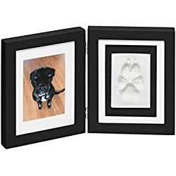 Better World Pets Paw Prints Keepsake Photo Frame Holds 4 x 6 inch Picture - Memorial Clay Imprint Kit - for Dogs and Cats - Perfect for Pet Lovers - Hinged for Desktop