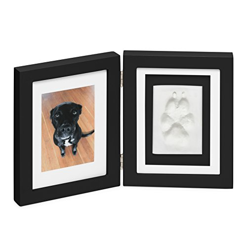 Paw Prints Keepsake Photo Frame by Better World Pets – Holds 4 x 6 inch Picture – Memorial Clay Imprint Kit – For Dogs and Cats – Perfect for Pet Lovers – Hinged For Desktop