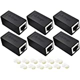 RJ45 Coupler, Ethernet Coupler, 6 Pack Ethernet Cable Extender Adapter for Cat7/Cat6/Cat5e, Female to Female, Support 100BASE-TX (Black-6 Pack) (Black)