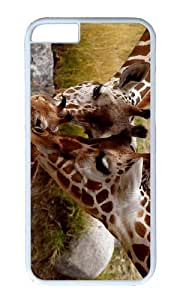 MOKSHOP Adorable Giraffe Parental Love Hard Case Protective Shell Cell Phone Cover For Apple Iphone 6 (4.7 Inch) - PC White