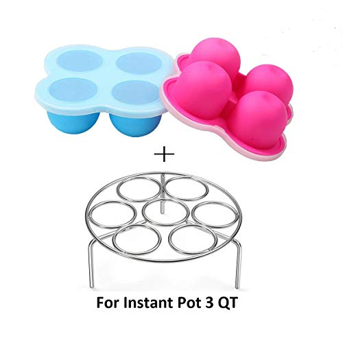 Silicone Egg Bites Molds for Instant Pot Accessories 3 Qt by ULEE - Fits Instant Pot 3/5/6/8 Qt Pressure Cooker, Stainless Steel Egg Steamer Rack Included by ULEE