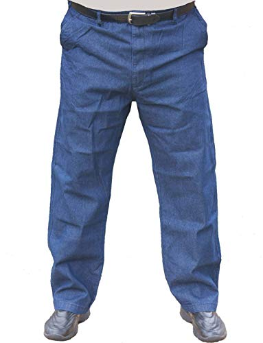 The Senior Shop Men's Full Elastic Waist Denim Jeans with Loops, Zipper and Button 36/30