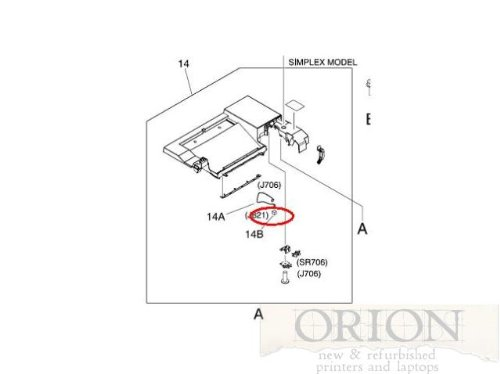 HP RM1-2630-000CN Paper sensor cable - Cable that connects to the face down paper tray full sensor SR706 - For simlex models only by HP